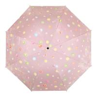 百盛洋伞 水波圆点遇水遇热变色晴雨伞黑胶防紫外线UPF50+遮阳伞 7392G 粉红
