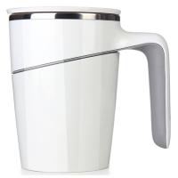 臺灣Artiart時尚創意帶蓋馬克杯水杯不銹鋼內膽 創意馬克杯不倒杯商務辦公款白色
