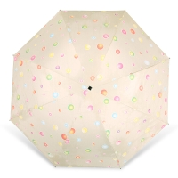 百盛洋伞 水波圆点遇水遇热变色晴雨伞黑胶防紫外线UPF50+遮阳伞 7392G 米色