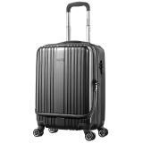 美旅AmericanTourister前开口拉杆箱 男女商务飞机轮行李箱智能收纳 20英寸TSA海关锁登机旅行箱79B炭灰色