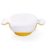 小介嘟(KIDOKARE)儿童餐具碗婴幼儿碗宝宝碗防滑双耳带盖学习碗 鲜黄色 KK-08
