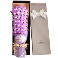 I'M HUA HUA33朵香皂玫瑰花禮盒紫色保鮮花速遞圣誕節生日禮物情人節送女生女友