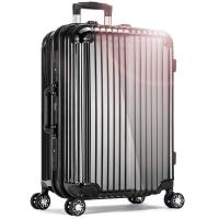 宾豪BINHAO拉杆箱 酷炫条纹 铝框拉杆箱 万向轮旅行箱 商务行李箱子 登机箱 20英寸 99W163KA黑色