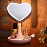 壹盒惊喜 初心台式化妆镜QHZLP-001 可充电式化妆镜触摸开关可储物 情人节送女友送老婆生日创意礼品 樱花粉