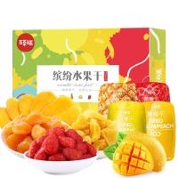 百草味 芒果干菠蘿干草莓干黃桃干 繽紛水果干伴手禮盒420g/盒