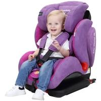 Zazababy9个月-12岁汽车用儿童安全座椅婴儿车载isofix、latch双接口 铁王座紫色