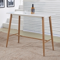 百思宜 吧桌 休闲吧台餐桌长方形酒吧桌 咖啡厅奶茶店高脚桌子酒吧桌 白色120*60cm(不含椅子)