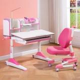 溢彩年华  儿童学习桌  儿童书桌桌椅套装  1.2米手摇式升降儿童写字桌YCX1295R+YCX3295R+YCX2003R粉色