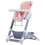 晨辉(CHBABY)儿童餐椅便携多功能皮质婴儿餐椅宝宝吃饭餐椅免安装宝宝餐椅可折叠 A505A 浅粉