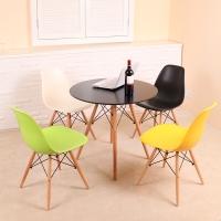 百思宜 咖啡桌现代简约休闲桌休息区餐桌接待洽谈桌 70cm圆桌 黑色(不含椅子)
