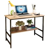 朗程电脑桌 简约台式书桌办工桌平板桌子 黑架+核桃木