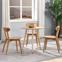 百思宜 洽谈桌餐桌北欧创意小圆桌现代简约咖啡厅餐饮店圆形桌子 三腿圆桌80cm原木色(不含椅子)