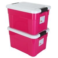 艾莱雅(AILYA)储物箱 塑料收纳箱 大号汽车整理箱衣物收纳盒搬家打包箱子 45L 2个装 马卡龙粉色 Z1252