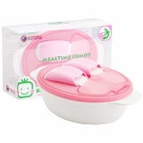 小介嘟(KIDOKARE)儿童餐具盒婴幼儿餐盒宝宝饭盒勺叉便携套装 粉红色 KK-05