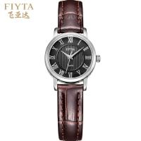 飞亚达(FIYTA)手表 经典系列石英情侣表女士手表黑盘皮带DL0020.WBR