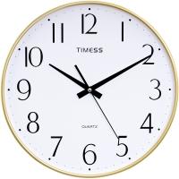 Timess掛鐘 簡約時尚細邊靜音13英寸客廳石英鐘T868-3金色