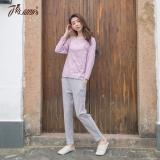 顶瓜瓜 睡衣家居服女棉质纯色圆领包边长袖睡衣套装t70110紫色170