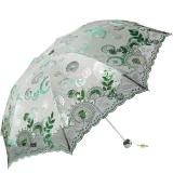 天堂伞 木棉佳色三折超轻绣花阳伞33199E绿色