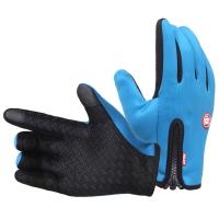 集暖手套电动车/摩托车防风防雨防滑滑雪拉链抓绒秋冬男女通用手套蓝色XL号