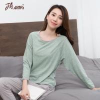 顶瓜瓜 睡衣家居服女棉质纯色圆领包边长袖睡衣套装t70110绿色160