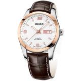 锐力(READ)手表 传奇系列全自动机械男表玫白棕皮R8083GA
