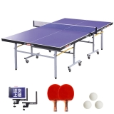 红双喜(DHS) T2023乒乓球台 可折叠 室内比赛型乒乓球桌 内附乒乓拍+乒乓球+网架