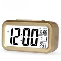 瑞达(REIDA) 静音温度聪明钟学生夜光懒人贪睡 闹钟创意时尚电子床头钟RD212B金色
