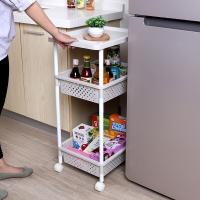 海兴HAIXIN厨房夹缝置物架冰箱边的可移动缝隙收纳架卫生间浴室塑料整理架宽