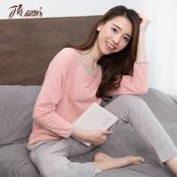 顶瓜瓜 睡衣家居服女棉质纯色圆领包边长袖睡衣套装t70110橡皮红160