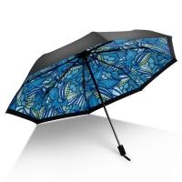 iRain Umbnella 防晒伞折叠防紫外线伞晴雨伞太阳伞三折伞黑胶伞遮阳伞 如梦