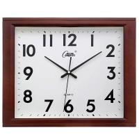 康巴丝(Compas)挂钟16英寸创意静音客厅钟表方形简约时钟居家办公挂表电子石英钟C25241仿木