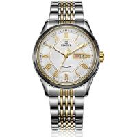 依波(EBOHR)手表 都市经典系列钨钢圈间金色钢带机械情侣表男表10610411