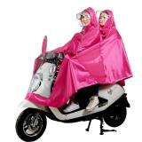 雨航(YUHANG)户外骑行电动电瓶摩托车雨衣男女式双人雨披 大帽檐 4XL枚红色