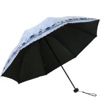 天堂傘 UPF50+雙層黑膠無光紗繡花三折太陽傘晴雨傘31826E淺蘭色