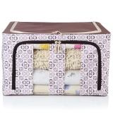 百草园 牛津布单面可视收纳箱 衣服杂物整理箱储物箱 大号60L 1个装 咖啡色