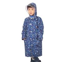 喵喵虎 防水儿童可爱型跳跳虎背囊式(带书包位)雨衣雨披 6610 湖蓝M码