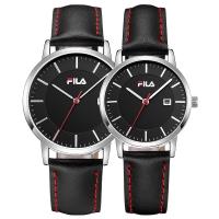 斐乐(FILA)手表 潮流大方防水皮带石英情侣表黑盘银框FLM38-793/FLL38-794