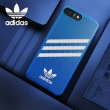 adidas(阿迪达斯) 苹果iPhone7P\8 Plus手机壳 条纹经典款 PU磨砂手感防滑防摔软壳保护套 蓝