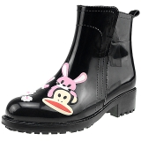 PaulFrank 大嘴猴雨鞋女士时尚手绘雨靴防水胶鞋套鞋 PF1009 黑色 40码
