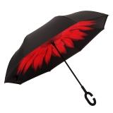 百盛洋伞 7103双层免持式反向伞双层雨伞汽车用长柄大伞男女晴雨两用直杆大号伞 大红花