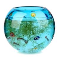 Homix Millefiori无铅水晶玻璃球形鱼缸花瓶 蓝L款