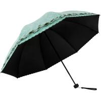 天堂伞 UPF50+双层黑胶无光纱绣花三折太阳伞晴雨伞31826E浅绿色