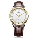 依波(EBOHR)手表 时代元素系列白面间金色牛皮带石英情侣表男表50280339
