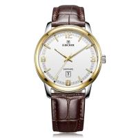 依波(EBOHR)手表 時代元素系列白面間金色牛皮帶石英情侶表男表50280339