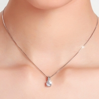 T400 S925银项链女 人造锆石锁骨链吊坠 克拉精灵  送女友情人节生日礼物