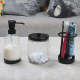 护家浴室三件套卫生间牙刷架套装棉签盒创意透明玻璃储物罐皂液瓶