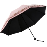 天堂伞 UPF50+双层黑胶无光纱绣花三折太阳伞晴雨伞31826E浅粉色