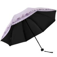 天堂伞 UPF50+双层黑胶无光纱绣花三折太阳伞晴雨伞31826E浅紫色
