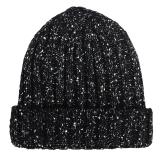 优唯美 秋冬季情侣韩版户外骑行针织保暖帽子男士 黑色均码MSP-604