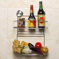 护家 厨房卫生间吸盘不锈钢挂件 免钻孔双层置物架 储物篮